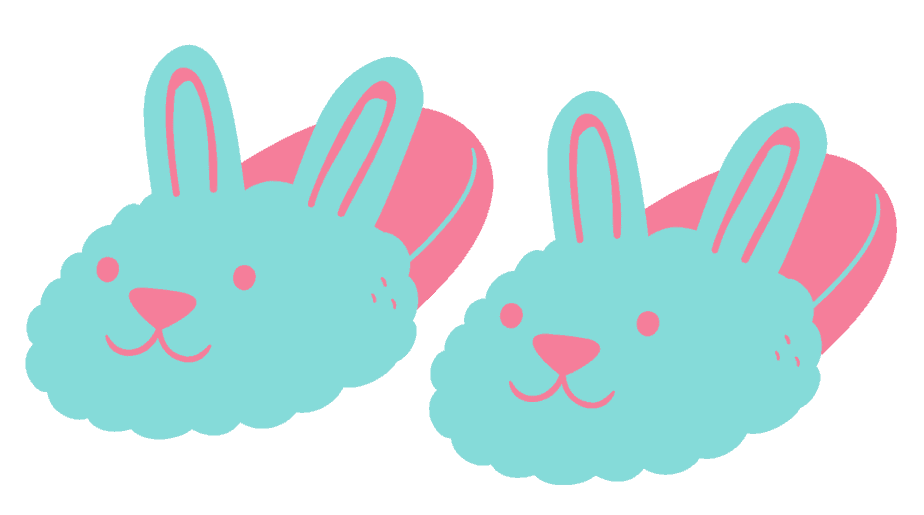 Pastel pink and blue bunny slippers logo