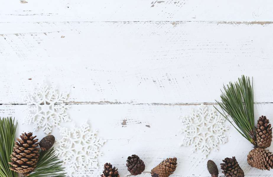 white wooden panel. Pinecones and pine needles fit the cozy Christmas aesthetic.